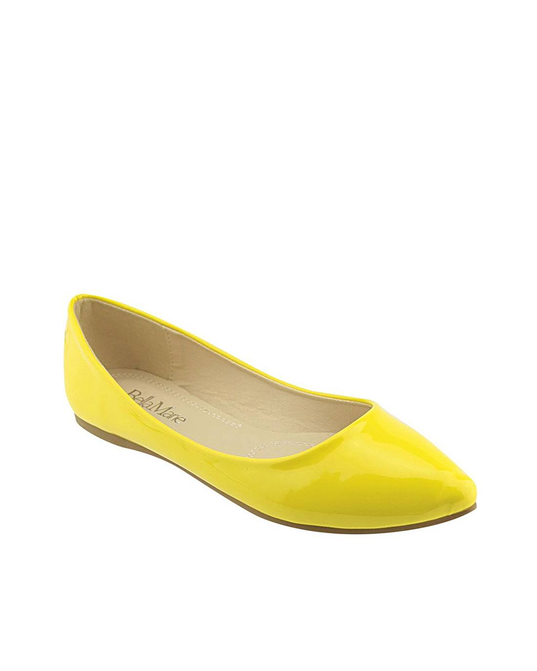 Solid Glossy Surface Pointed Toe Flats-5.5-MY UPSCALE STORE