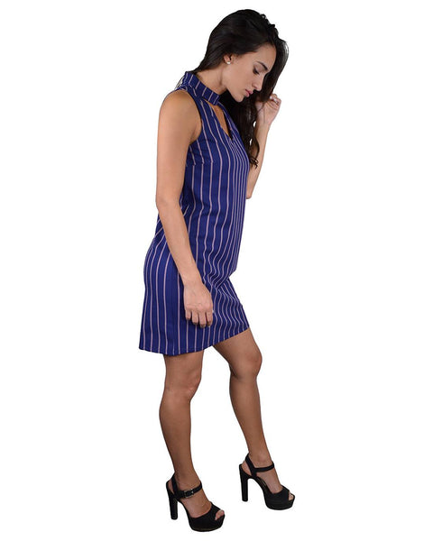 Stripe Print Cutout Neckline Short Dress-S-MY UPSCALE STORE