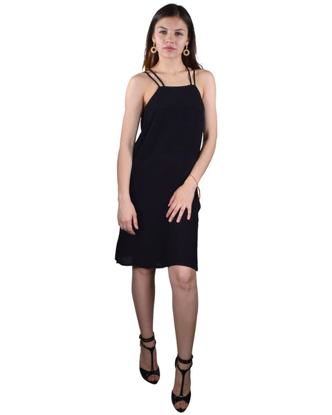 Spaghetti Strap Hourglass Neckline Stylish Back Short Dress-S-MY UPSCALE STORE