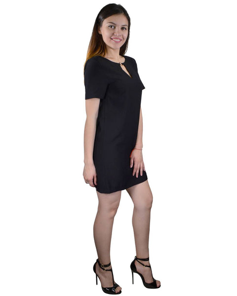 Solid Keyhole Neckline Short Dress-S-MY UPSCALE STORE