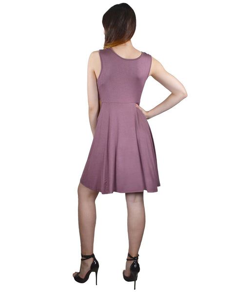 Solid Sleeveless Round Neckline Skater Dress-XS-MY UPSCALE STORE