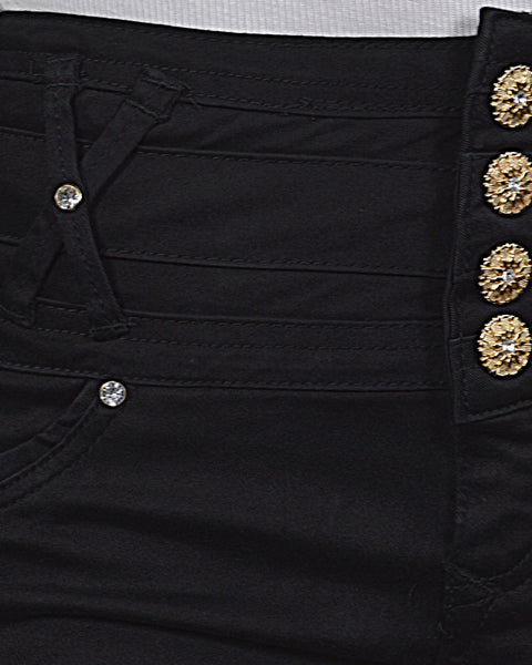 Solid Four Button Fastening Shorts-S-MY UPSCALE STORE