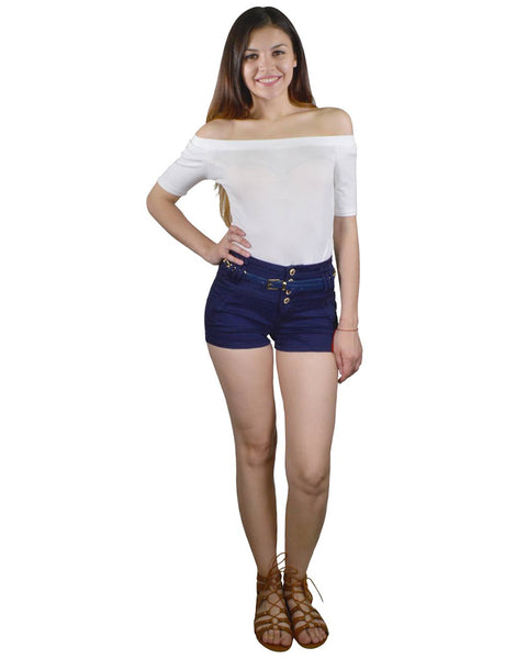 Solid Four Button Fastening High waist Shorts-S-MY UPSCALE STORE
