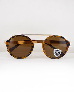 Round Frame Sunglasses-Brown/Animal-MY UPSCALE STORE