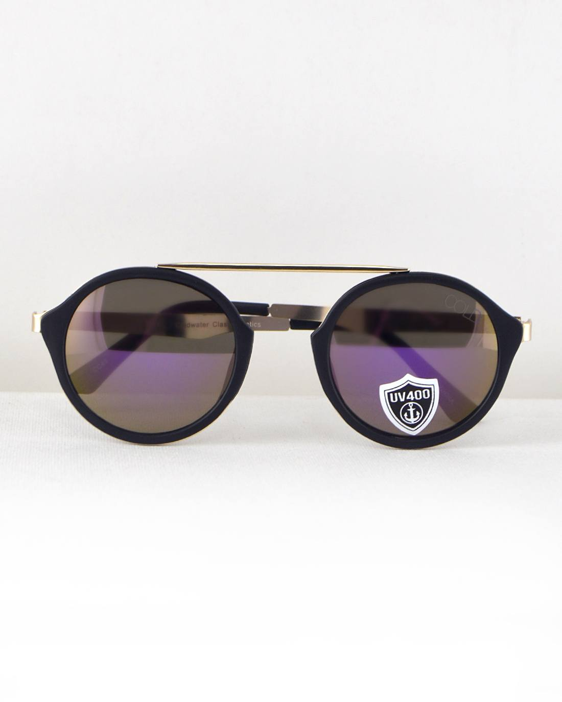 Round Frame Sunglasses-Black/Purple-MY UPSCALE STORE