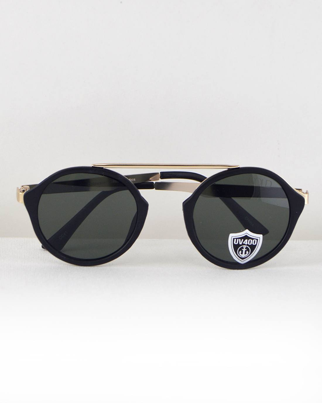 Round Frame Sunglasses-Black-MY UPSCALE STORE