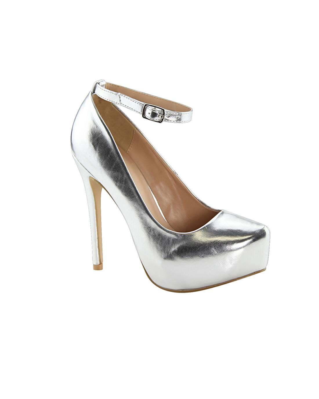 Silver Ankle Strap High Heels