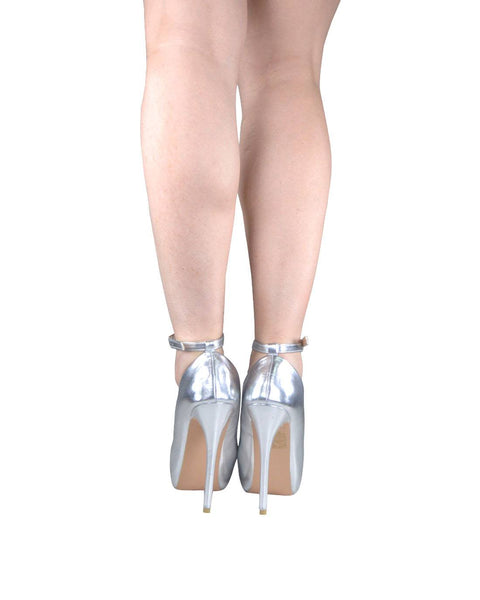 Silver Ankle Strap High Heels-5.5-MY UPSCALE STORE