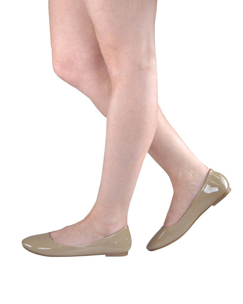 Taupe Patent Ballerina Flats-6-MY UPSCALE STORE