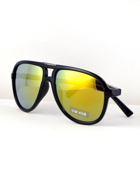 Stylish Broad Frame Aviators-Black/Yellow-MY UPSCALE STORE