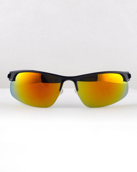 Half Frame Wayfarer Sunglasses-Black/Yellow-MY UPSCALE STORE