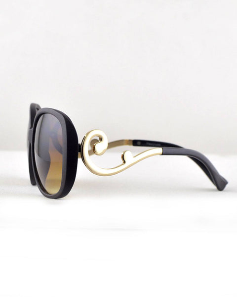 Rectangular Sunglasses with Stylish Arms-Gold/Coffee-MY UPSCALE STORE