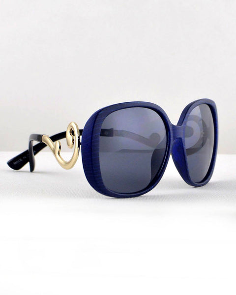 Rectangular Sunglasses with Stylish Arms-Blue/Gold-MY UPSCALE STORE