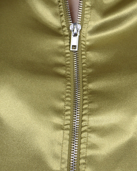 Ribbed Detailing Front Zip Closure Bomber Jacket-S-MY UPSCALE STORE