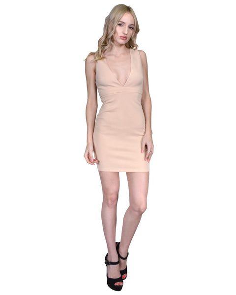 High Empire Waist Deep V-Neckline Short Dress-S-MY UPSCALE STORE