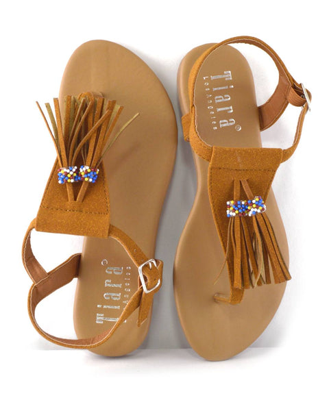 Tassel and Bead Embellished Flat Sandals-5.5-MY UPSCALE STORE