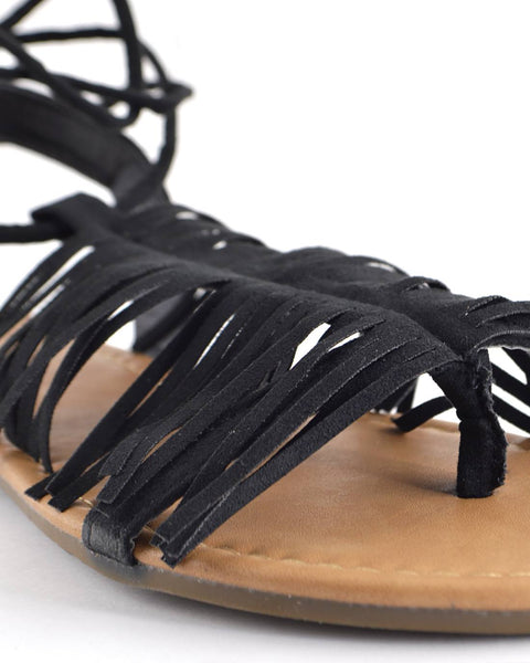 Fringe Design Open Toe Tie Up Pattern Flat Sandals-5.5-MY UPSCALE STORE