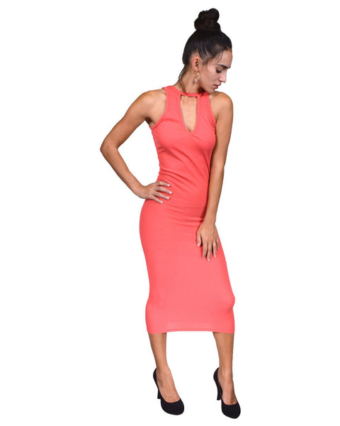 Plunging neckline backless midi dress-S-MY UPSCALE STORE
