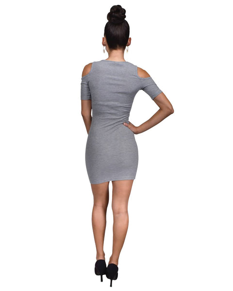 Fashion crew neck, cold shoulder fitted sheath dress-S-MY UPSCALE STORE