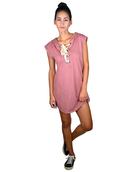 Knit dress w/hoodie-S-MY UPSCALE STORE