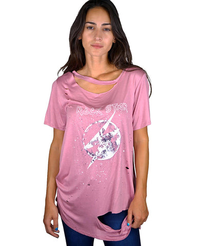 Distressed graphic tee-Mauve-S-MY UPSCALE STORE