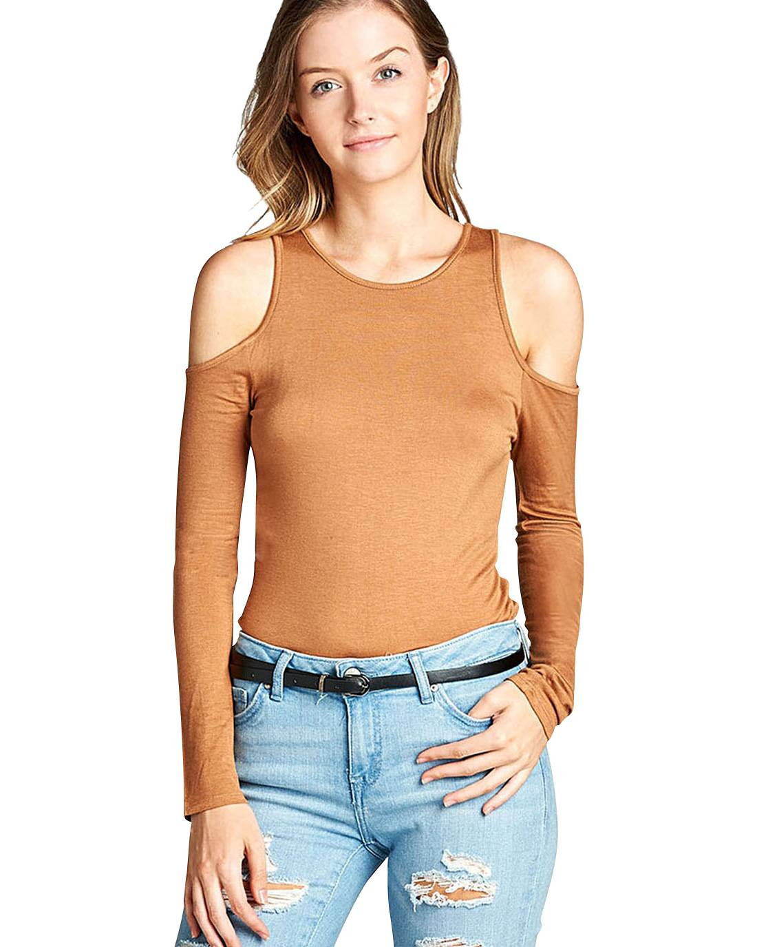 Open shoulder top-S-MY UPSCALE STORE