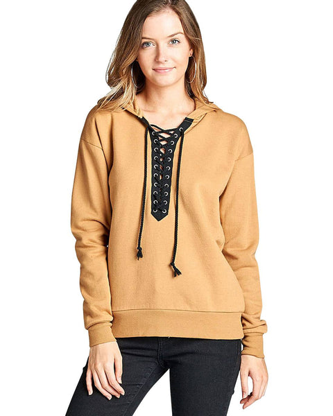 French terry lace up detail hoodie-S-MY UPSCALE STORE