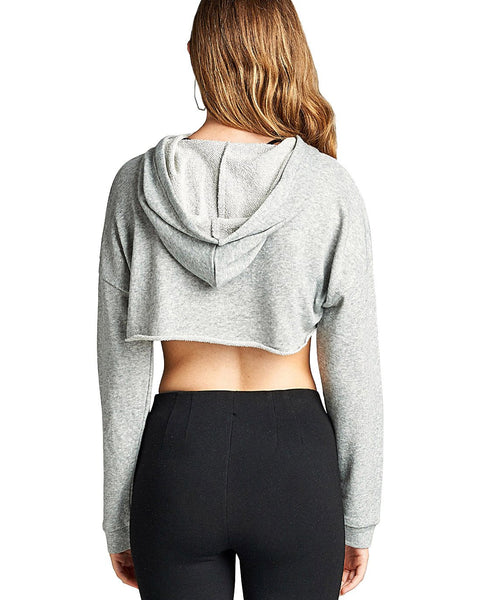 French terry knit athletic cropped hoodie-S-MY UPSCALE STORE