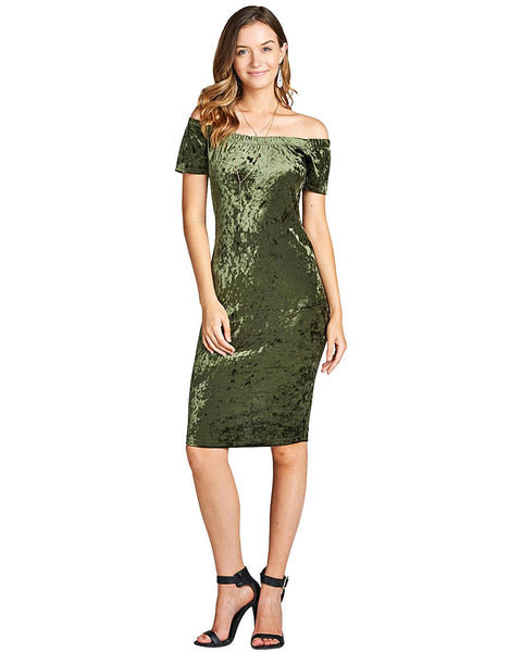 Off the shoulder velvet dress-S-MY UPSCALE STORE