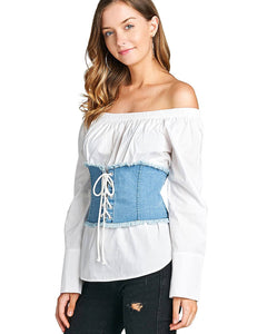 Fashion denim corset-S-MY UPSCALE STORE