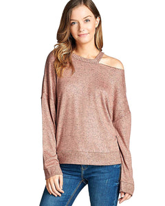Cutout below the crew neckline sweater-S-MY UPSCALE STORE