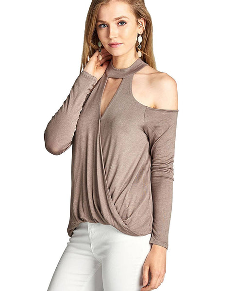 Plunging V-cutout long sleeves top-Spicy Rust-S-MY UPSCALE STORE