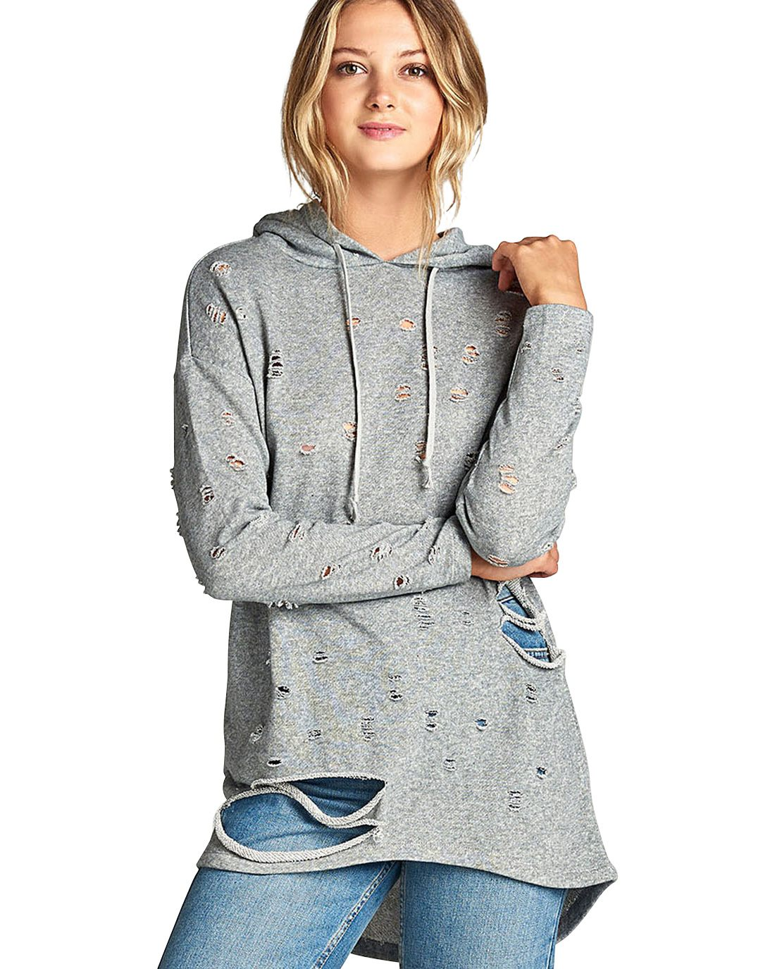 Allover distressing knit hoodie-S-MY UPSCALE STORE
