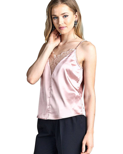 Adjustable cami straps fashion satin top-Dusty Salmon-S-MY UPSCALE STORE