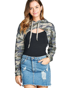 French terry knit allover military print cropped hoodie-S-MY UPSCALE STORE