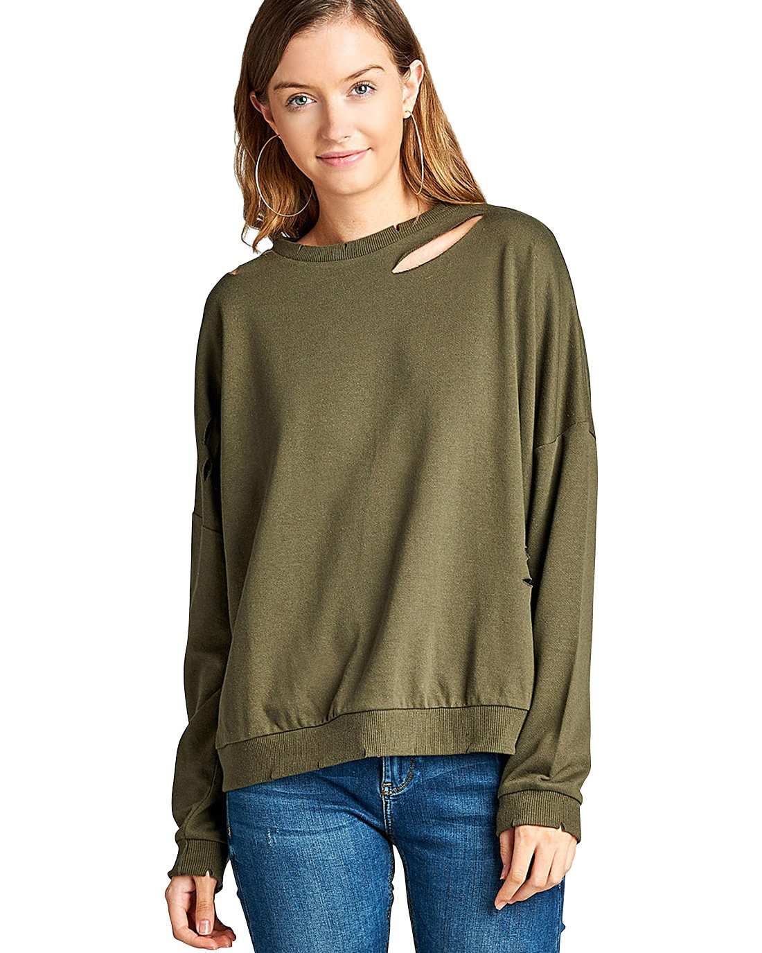 Dropped shoulders distressed cutout design sweatshirt-S-MY UPSCALE STORE