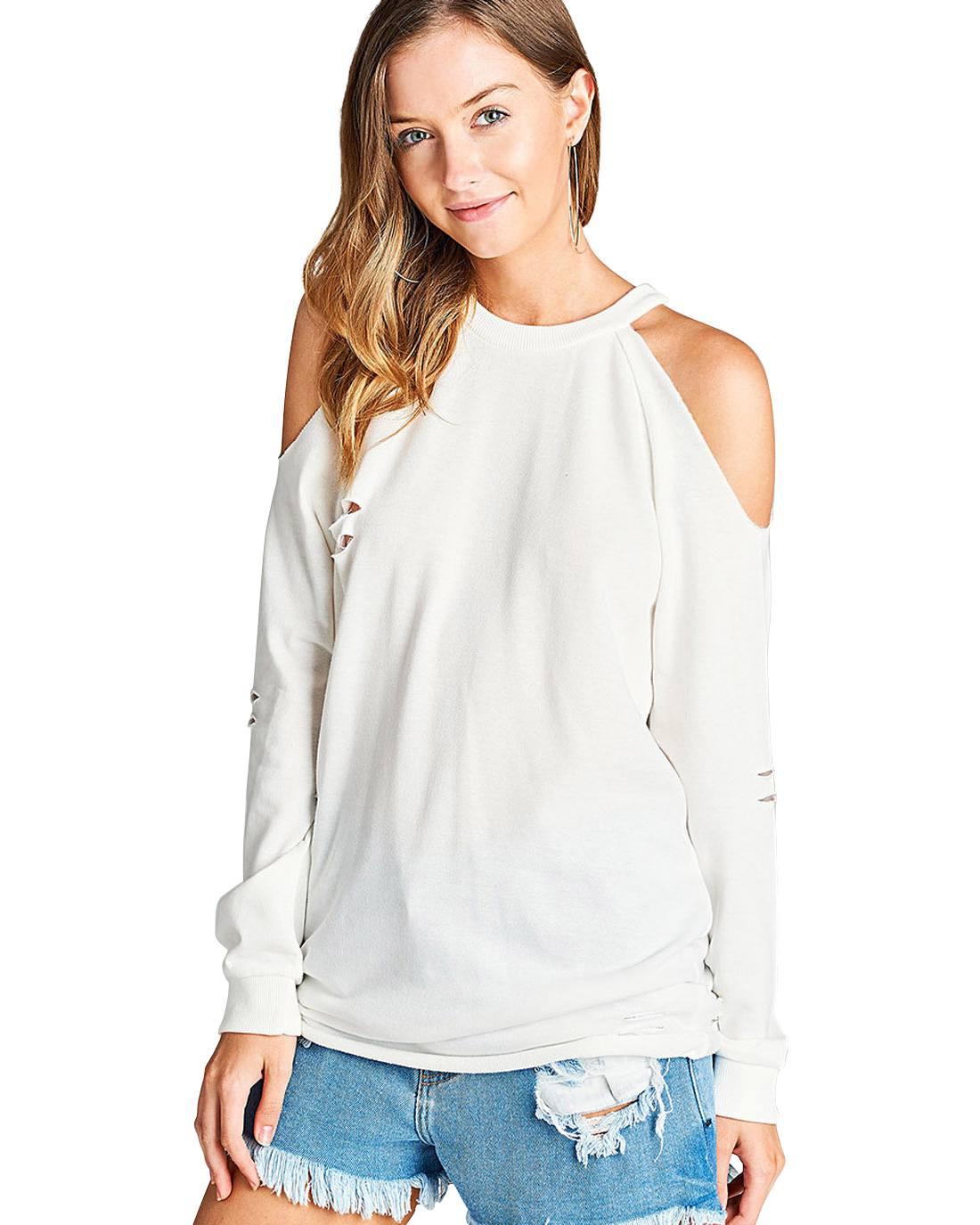Open-shoulder design French terry knit pullover-S-MY UPSCALE STORE
