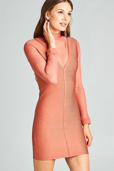 Plunging illusion neckline stretch-knit dress-S-MY UPSCALE STORE