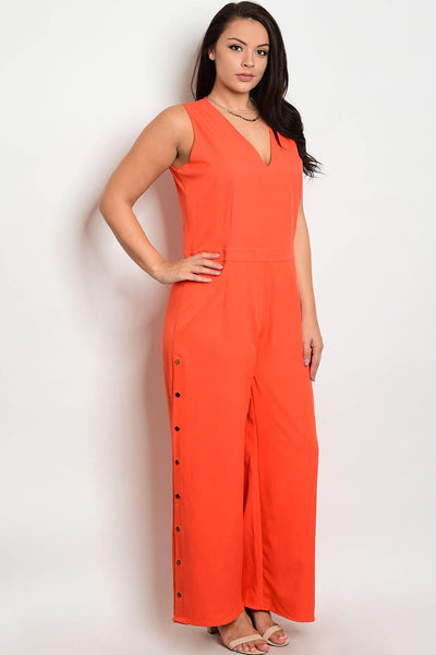 Plus size V-neckline snap buttons on the sides jumpsuit-1XL-MY UPSCALE STORE