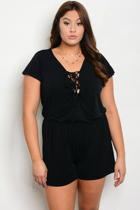 Plus size scoop neckline short sleeve romper-1XL-MY UPSCALE STORE