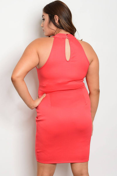 Plus size fashion keyhole back bodycon dress-1XL-MY UPSCALE STORE