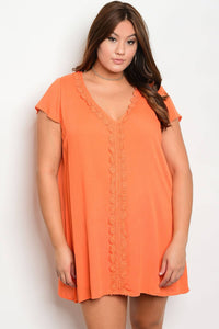Plus size V-neckline crochet details skater dress-Orange-1XL-MY UPSCALE STORE