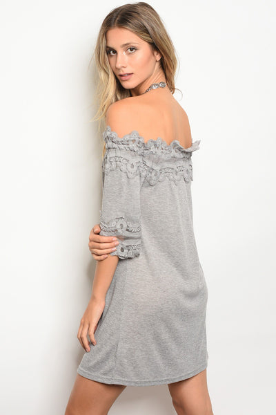 Ladies scalloped lace trim off the shoulder dress-S-MY UPSCALE STORE