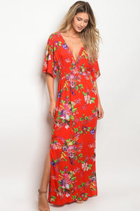 Ladies gathered waistline floral print maxi dress-S-MY UPSCALE STORE
