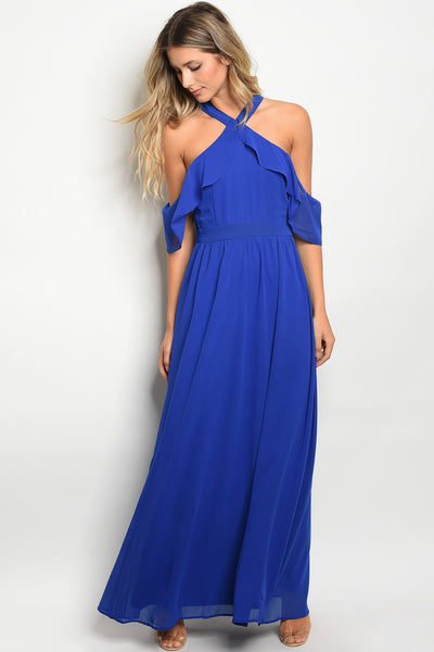 Ladies open shoulder chiffon maxi dress-S-MY UPSCALE STORE