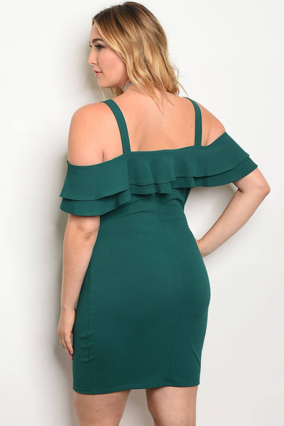 Plus size ruffle detail off the shoulder bodycon dress-Hunter Green-1XL-MY UPSCALE STORE