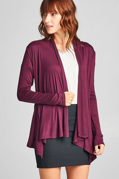 Ladies Fashion Long Sleeve Open Drape rayon Spandex Jersey Cardigan-S-MY UPSCALE STORE