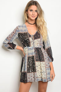 Long Sleeve MixedPrint Multi Color A-Line Dress With A V-Neckline-S-MY UPSCALE STORE