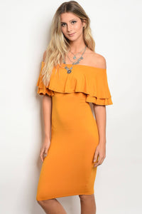 Ladies 3/4 Sleeve Off The Shoulder Bodycon Dress With A Ruffle Detail-S-MY UPSCALE STORE
