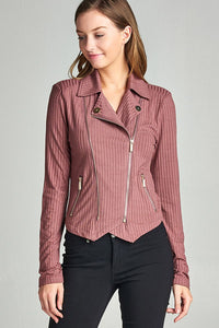Ladies Long Sleeve Zipper Detail Rib Fitted Jacket-S-MY UPSCALE STORE